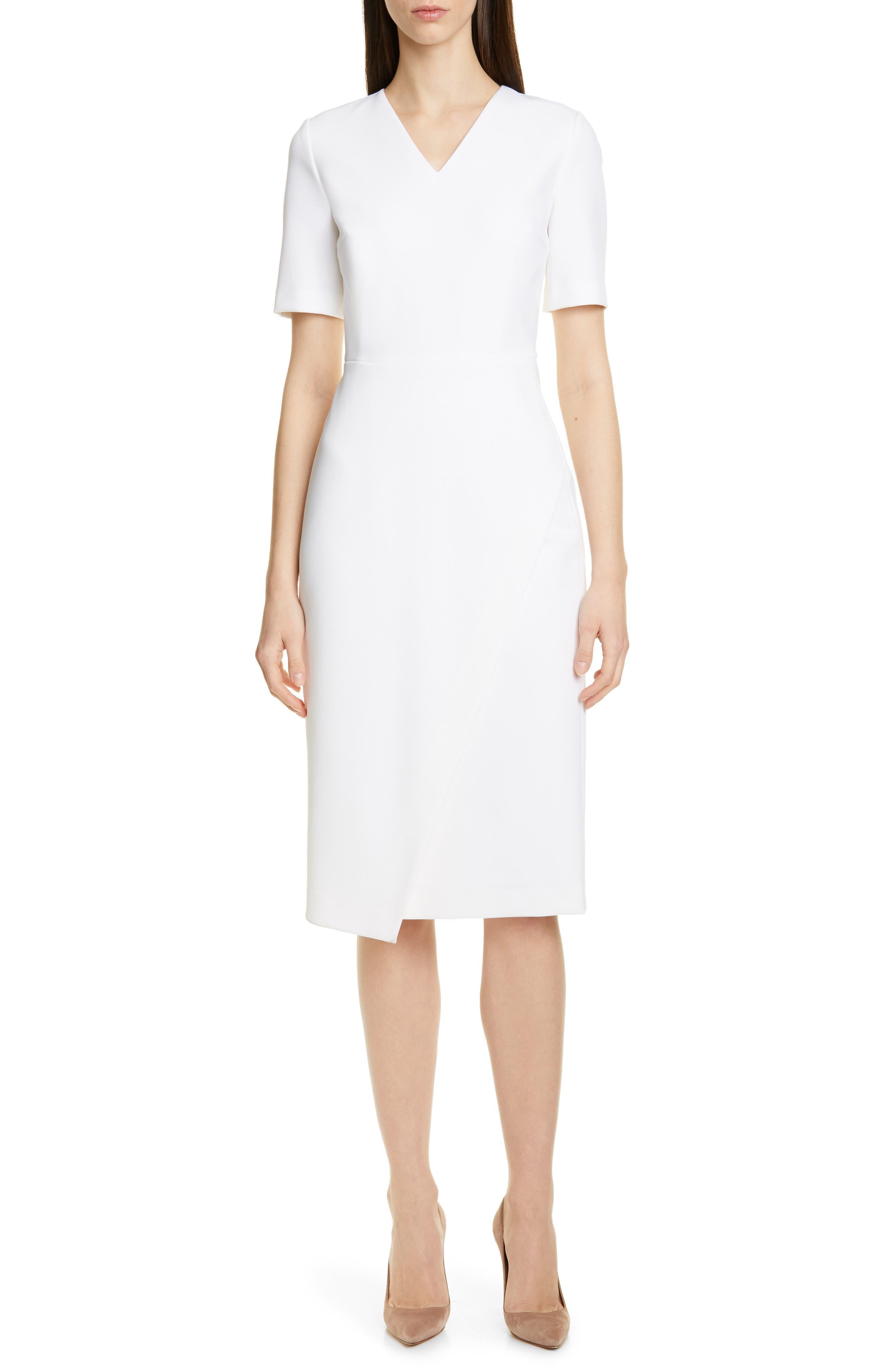 Boss Daissa Faux Wrap Sheath Dress, White