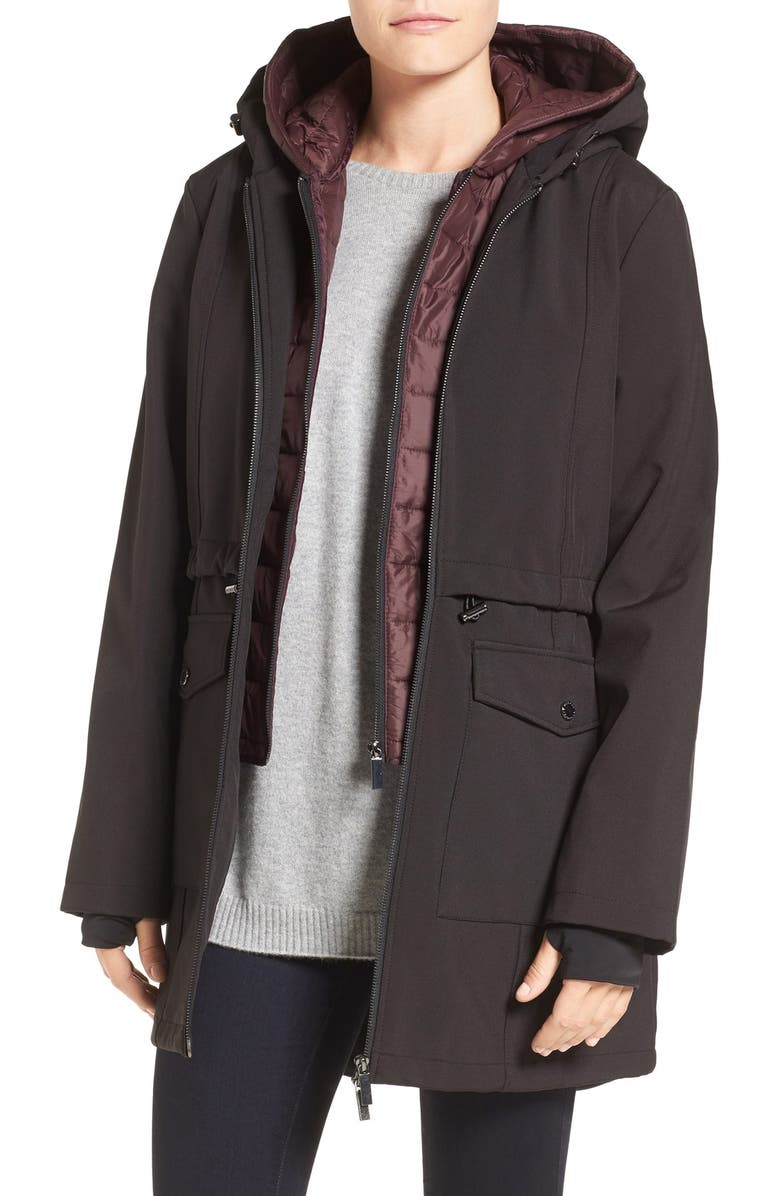 FRENCH CONNECTION Three-Quarter Anorak with Removable Bib, Main, color, 001
