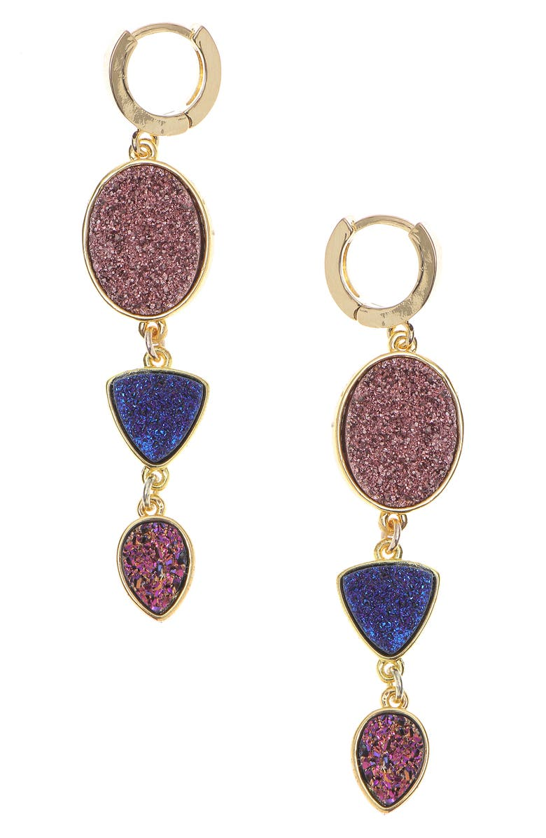 NAKAMOL CHICAGO Drusy Huggie Drop Earrings, Main, color, PURPLE/ GOLD