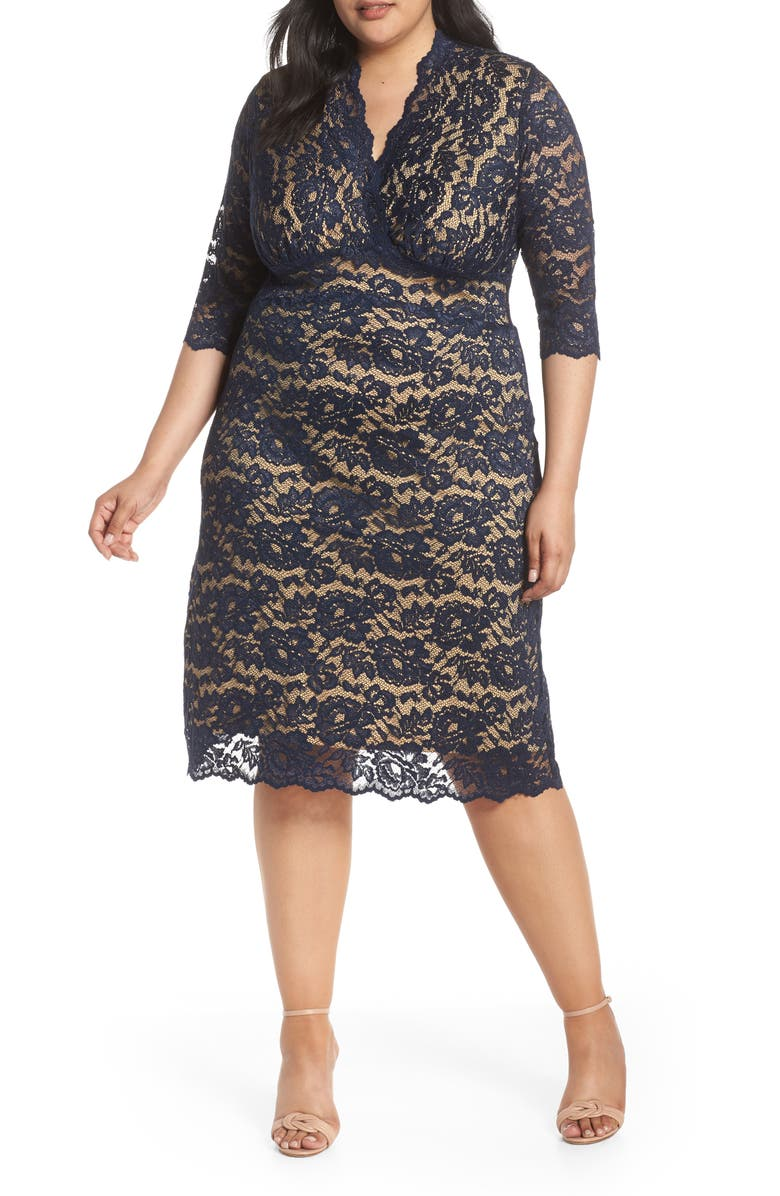 Kiyonna Scalloped Boudoir Lace Sheath Dress (Plus Size ...