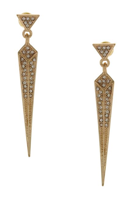 Image of Olivia Welles Ria Pave Set Simulated Stone Accented Arrow Drop Earrings