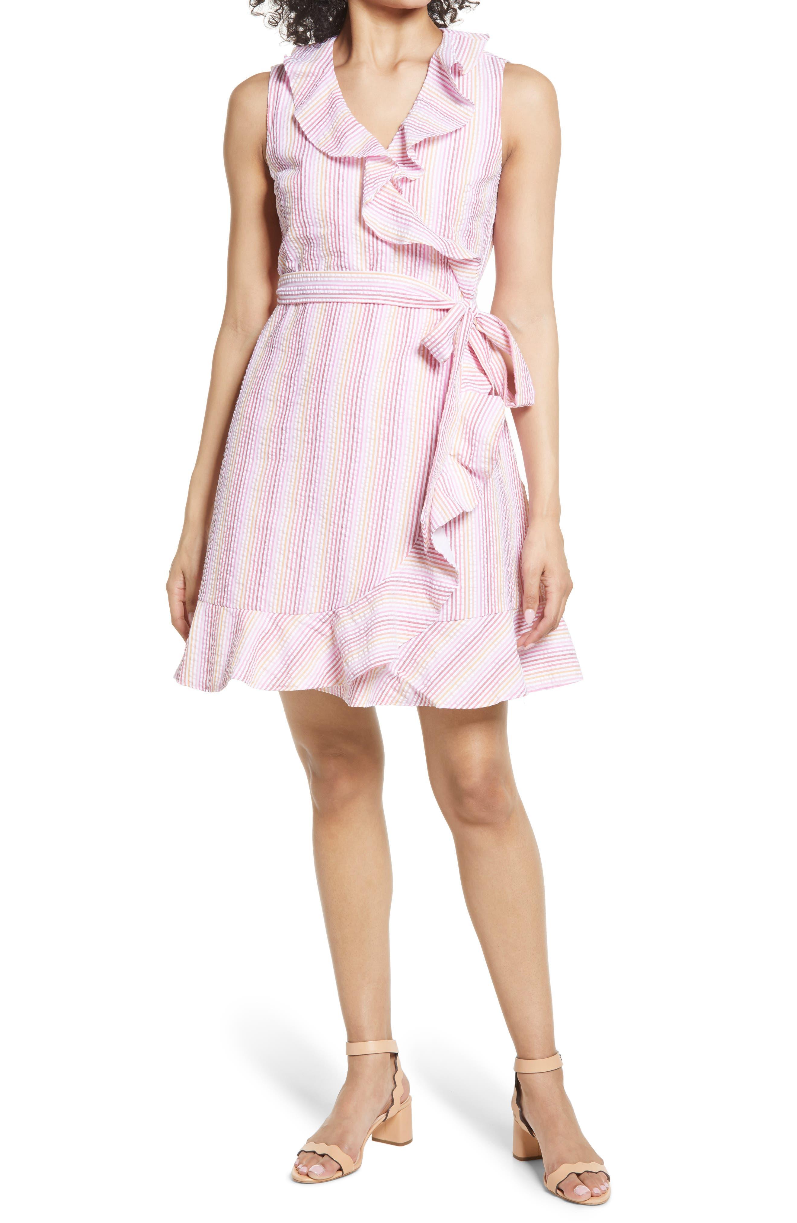 Stripe Seersucker Flutter Wrap Dress
