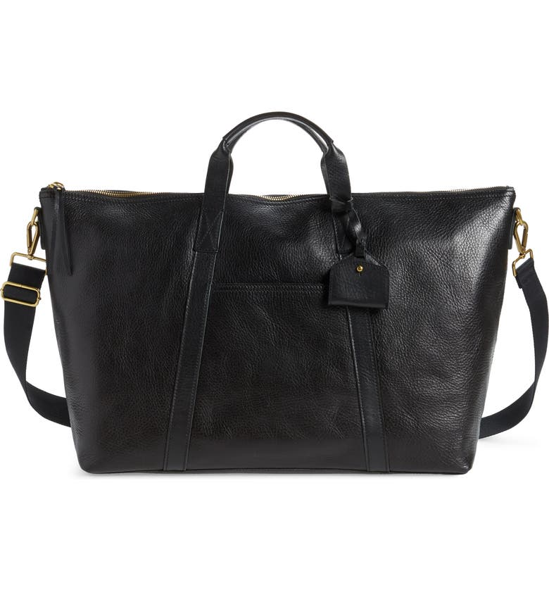 MADEWELL Essential Leather Overnight Bag, Main, color, TRUE BLACK