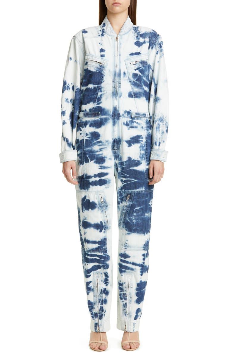 STELLA MCCARTNEY Tie Dye Denim Jumpsuit, Main, color, 400