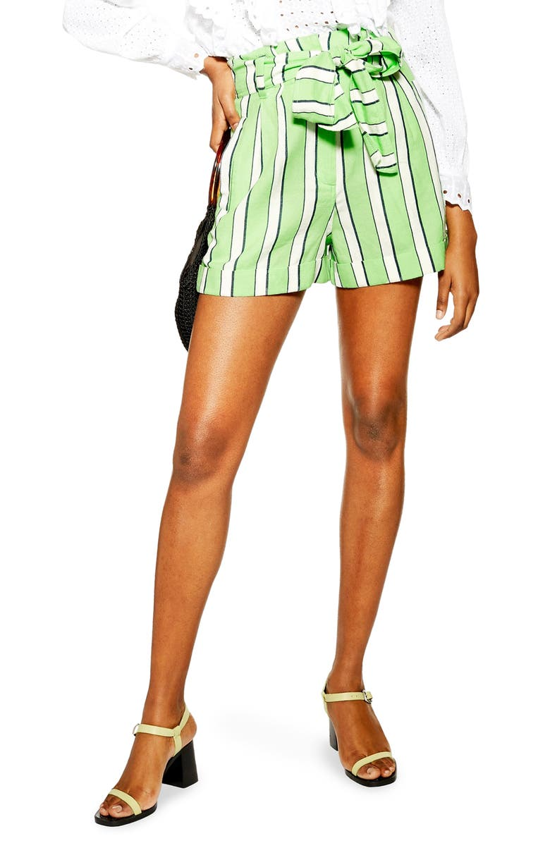 TOPSHOP Tie Waist Stripe Cotton Shorts, Main, color, GREEN MULTI