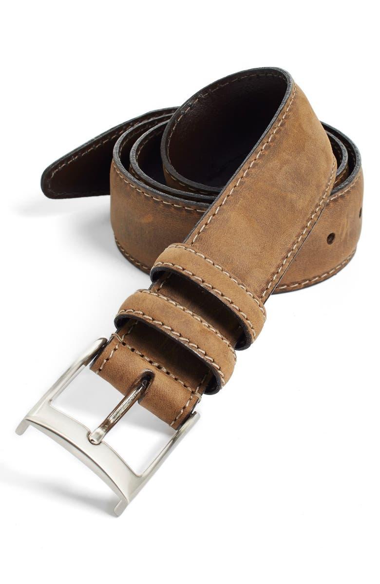 JOHNSTON & MURPHY Leather Belt, Main, color, 200
