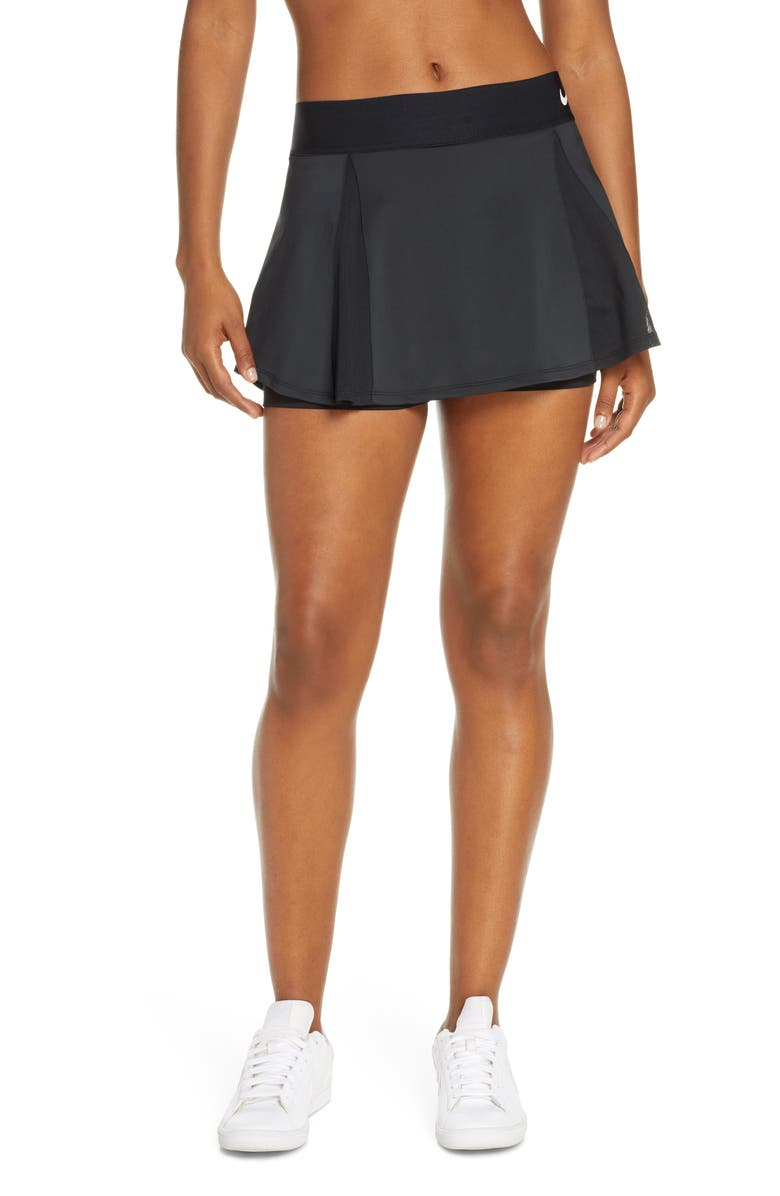 NIKE Court Elevated Dri-FIT Tennis Skirt, Main, color, BLACK/ BLACK/ WHITE