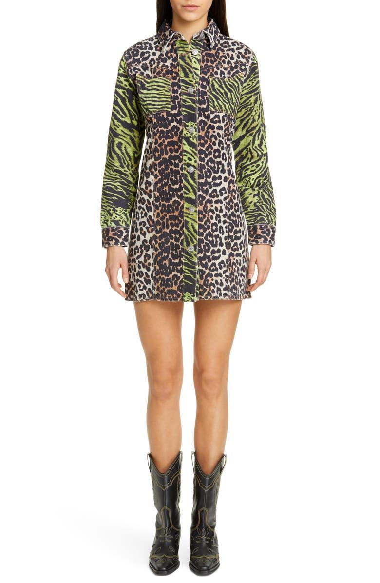 GANNI Leopard Print Long Denim Shirtdress, Main, color, BLOCK COLOUR