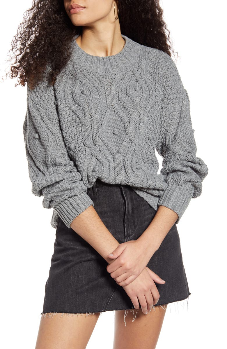 COTTON EMPORIUM Textured Cable Sweater, Main, color, 020