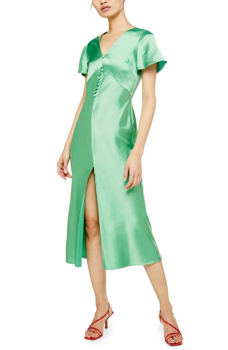 TOPSHOP Angel Sleeve Bias Cut Satin Midi Dress, Main, color, GREEN