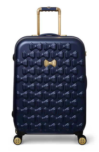 Ted Baker Shoes MEDIUM BEAU BOW EMBOSSED FOUR-WHEEL 27-INCH TROLLEY SUITCASE - BLUE