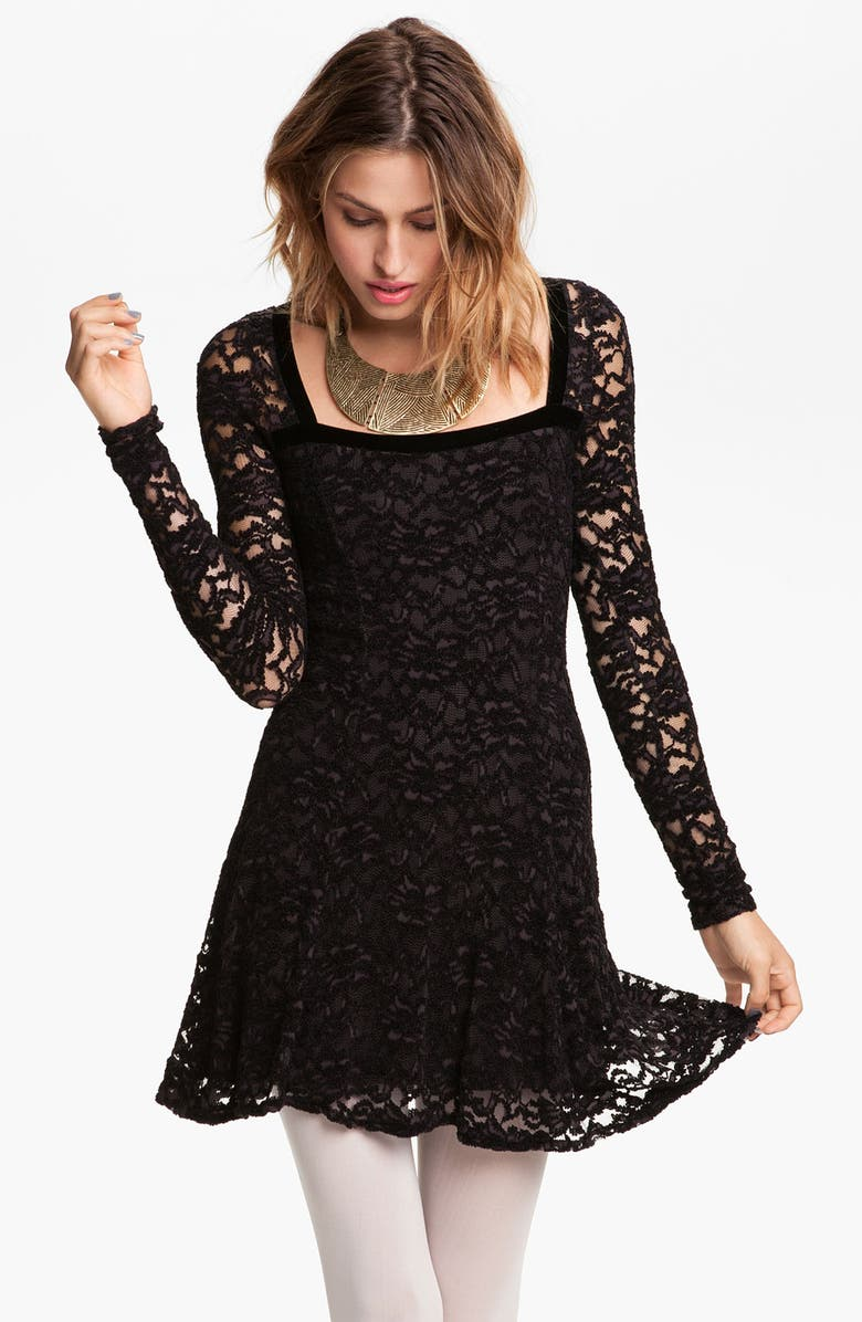 FREE PEOPLE 'Flirt for You' Lace Dress, Main, color, 001