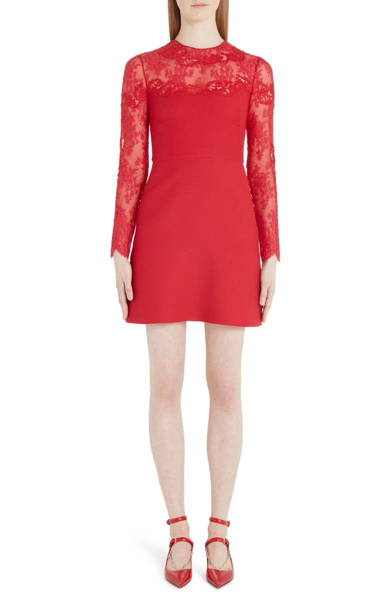 VALENTINO Lace Trim Long Sleeve Wool & Silk Minidress, Main, color, 157-RED