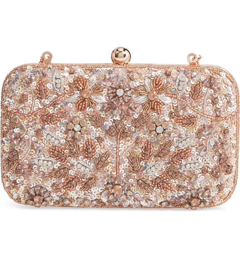 RACHEL PARCELL Embellished Clutch, Main, color, PINK COMPACT