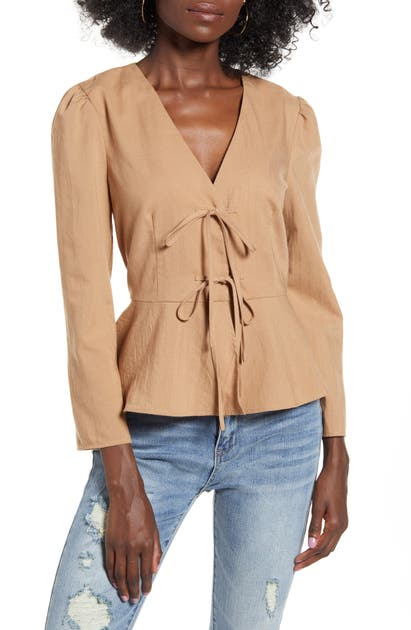 English Factory Bow Front Peplum Top In Brown