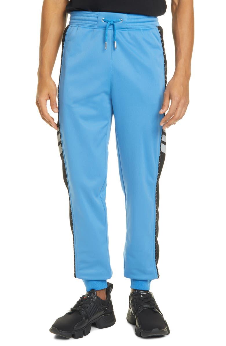 GIVENCHY Reflective Logo Stripe Track Pants, Main, color, BLACK/ BLUE