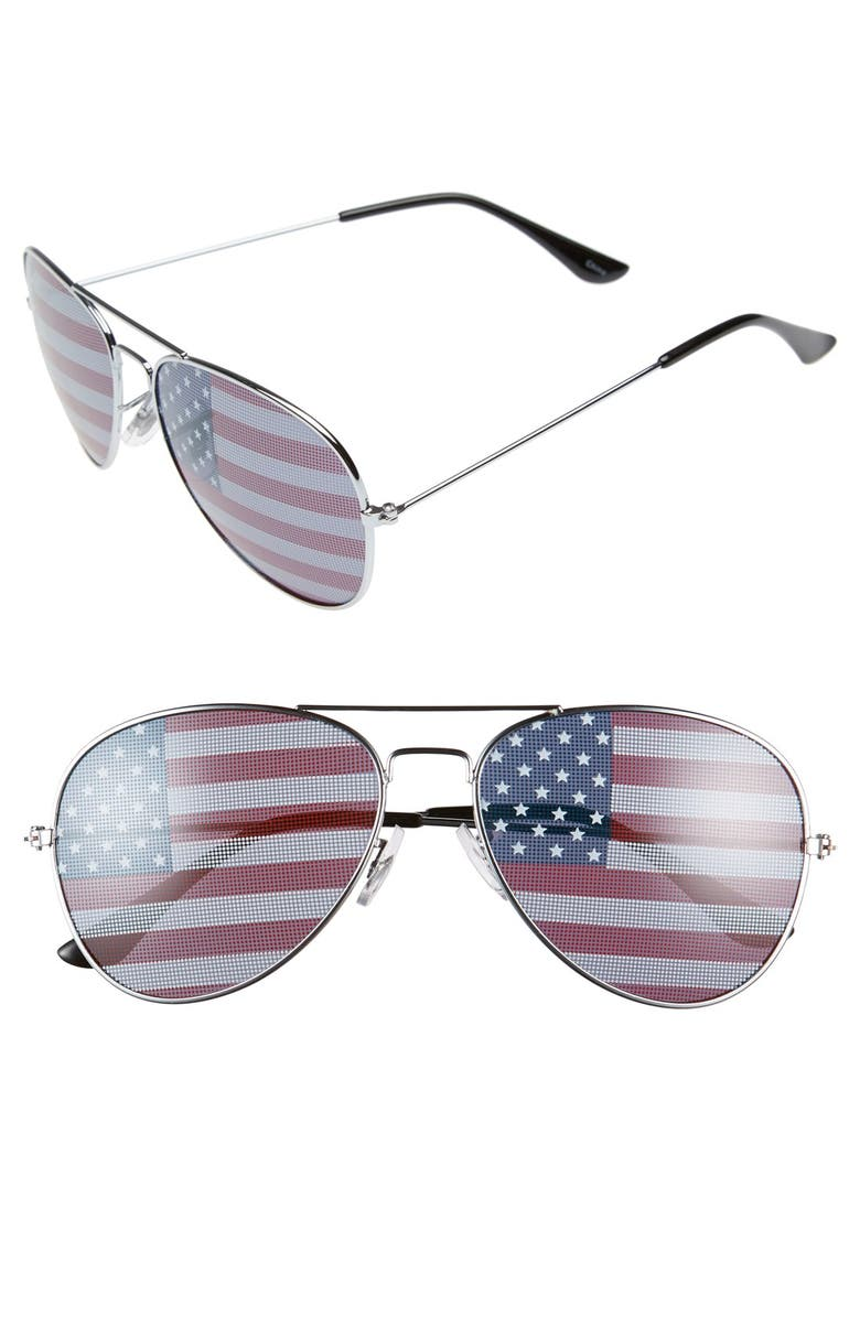 BP. American Flag 60mm Aviator Sunglasses, Main, color, 040