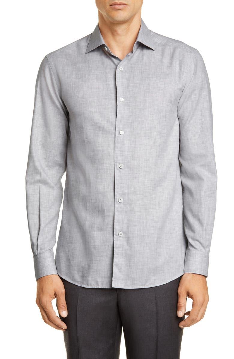 ERMENEGILDO ZEGNA Slim Fit Mélange Button-Up Shirt, Main, color, LIGHT GREY