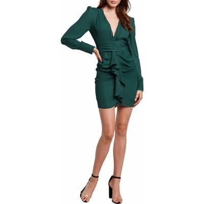 Bardot Viktoria Long Sleeve Plunge Minidress, Green