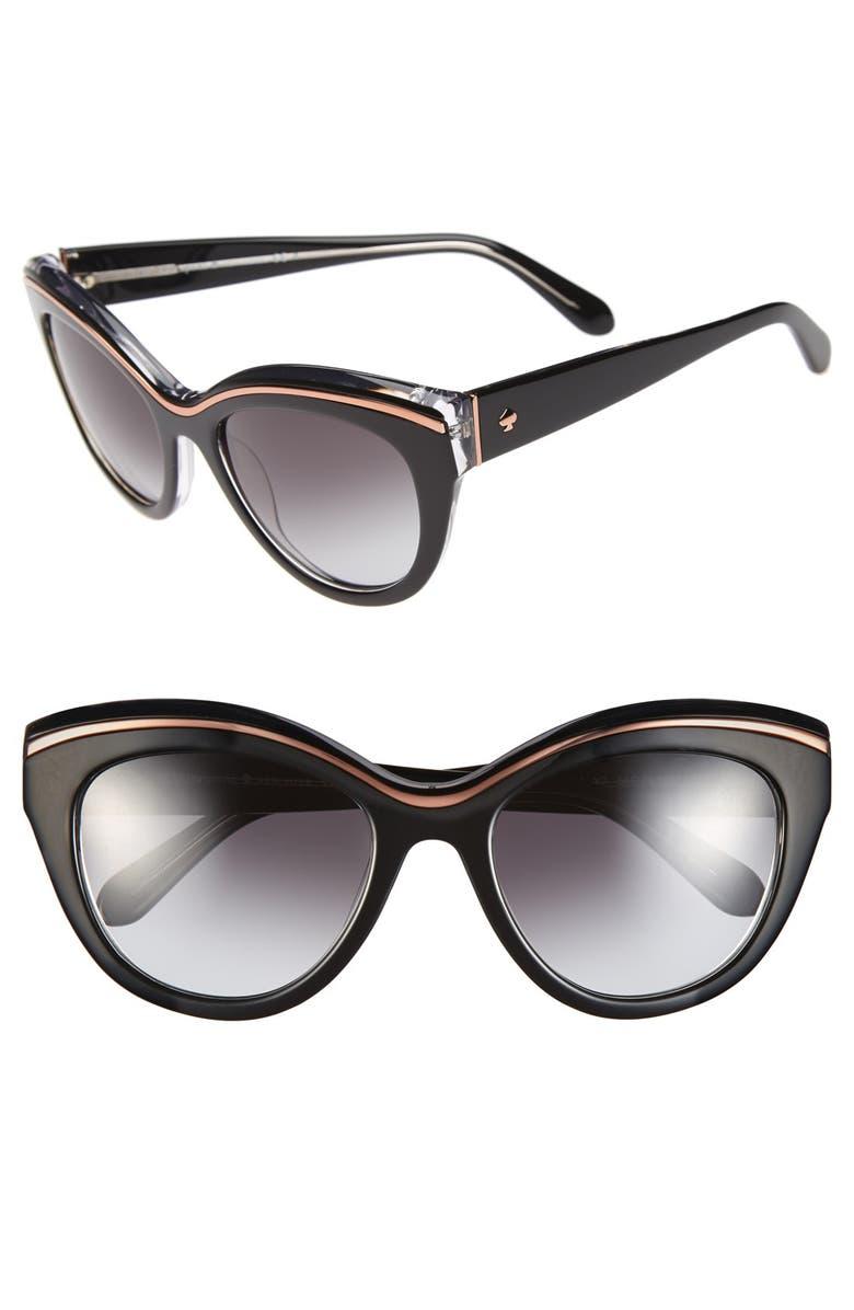 KATE SPADE NEW YORK 54mm cat eye sunglasses, Main, color, 001