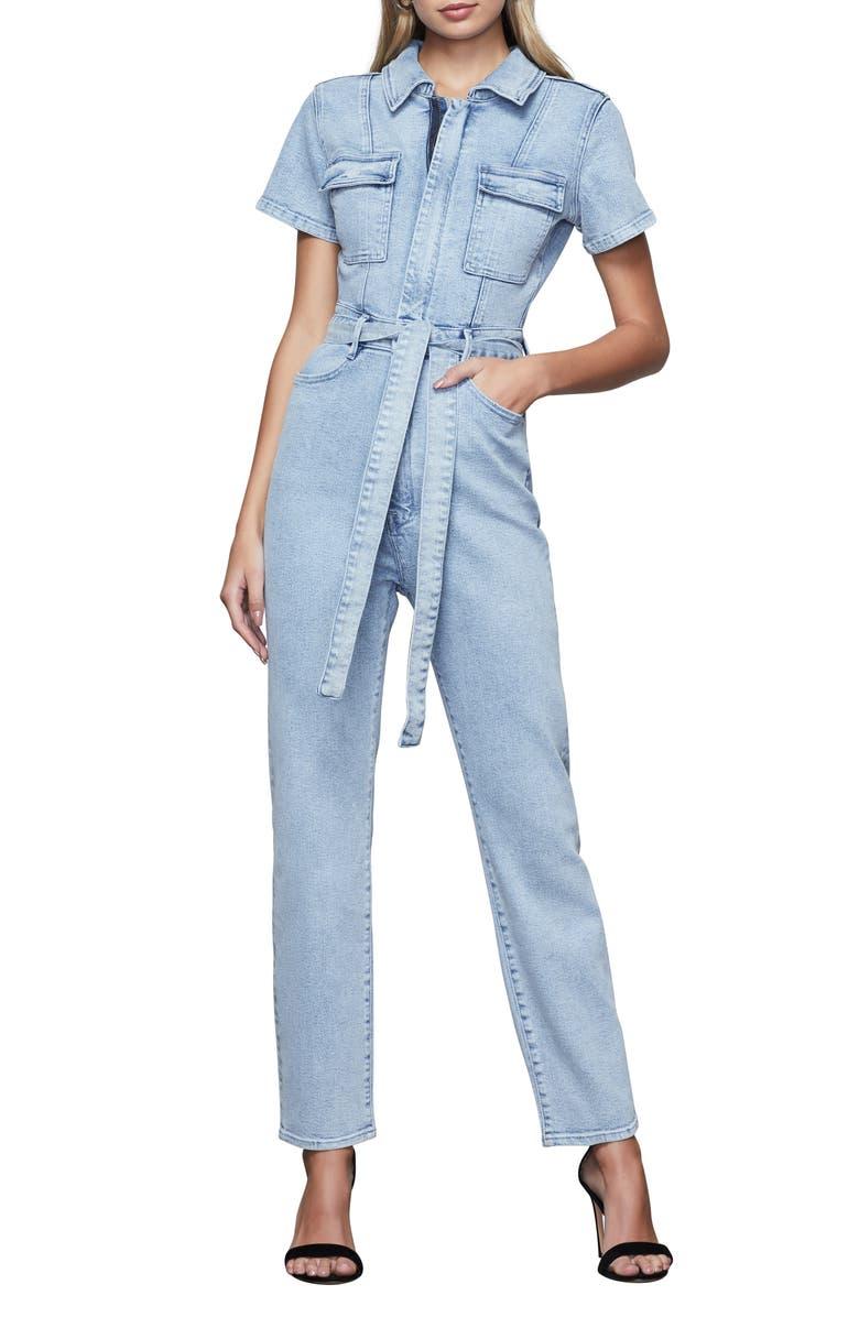 GOOD AMERICAN Fit for Success Belted Denim Jumpsuit, Main, color, 401