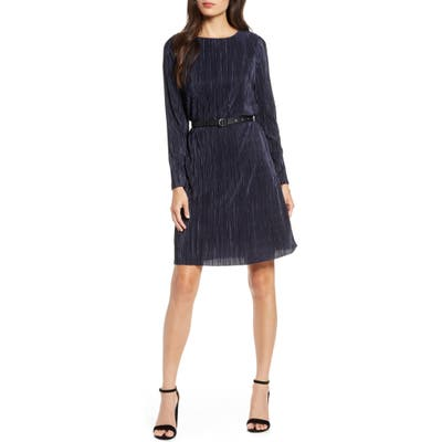 Sam Edelman Long Sleeve Belted Plisse Dress, Blue
