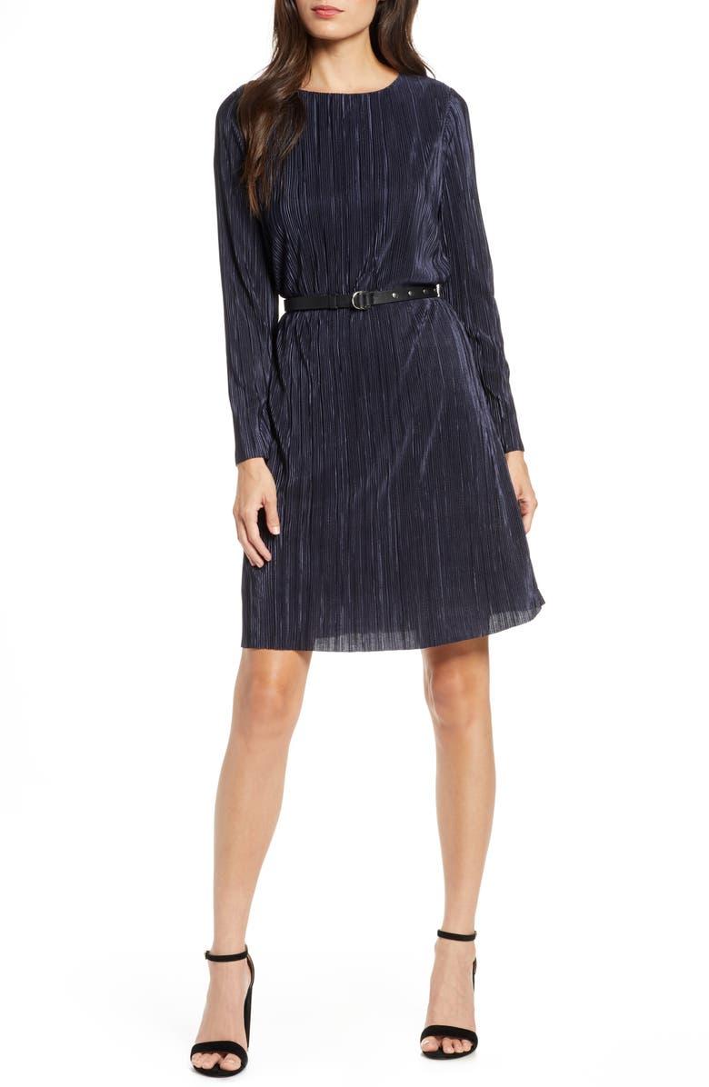 SAM EDELMAN Long Sleeve Belted Plissé Dress, Main, color, NAVY