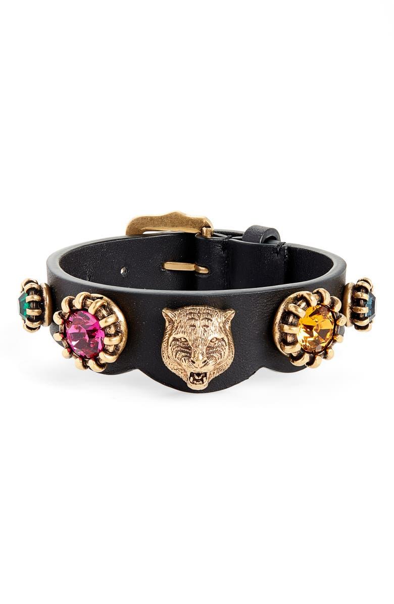 GUCCI Crystal Embellished Feline Head Leather Bracelet, Main, color, 001