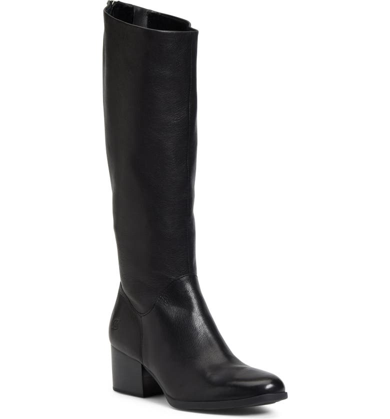 BØRN Audriana Knee High Boot, Main, color, BLACK LEATHER