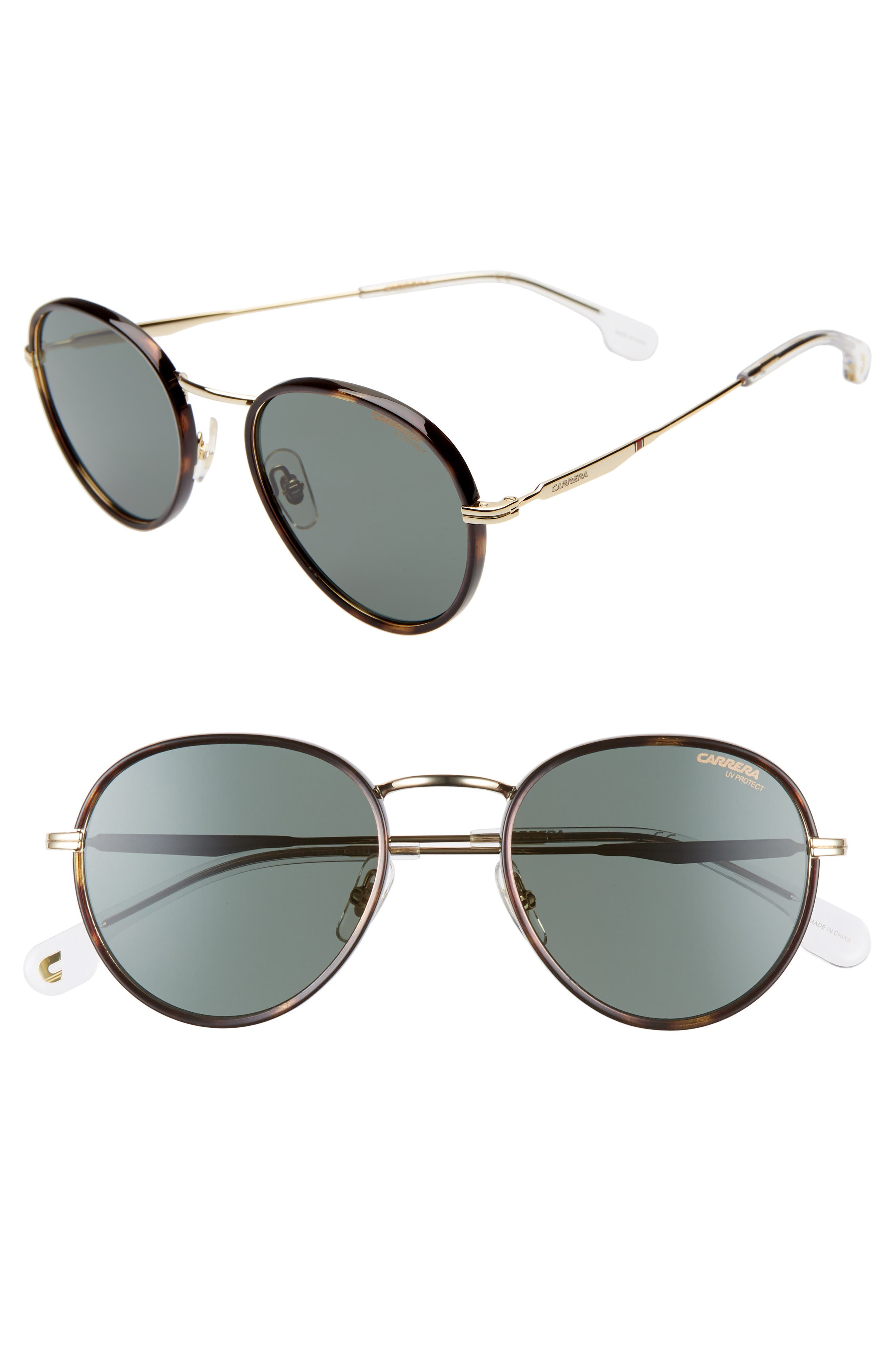 Carrera Eyewear 52Mm Round Sunglasses - Gold Green