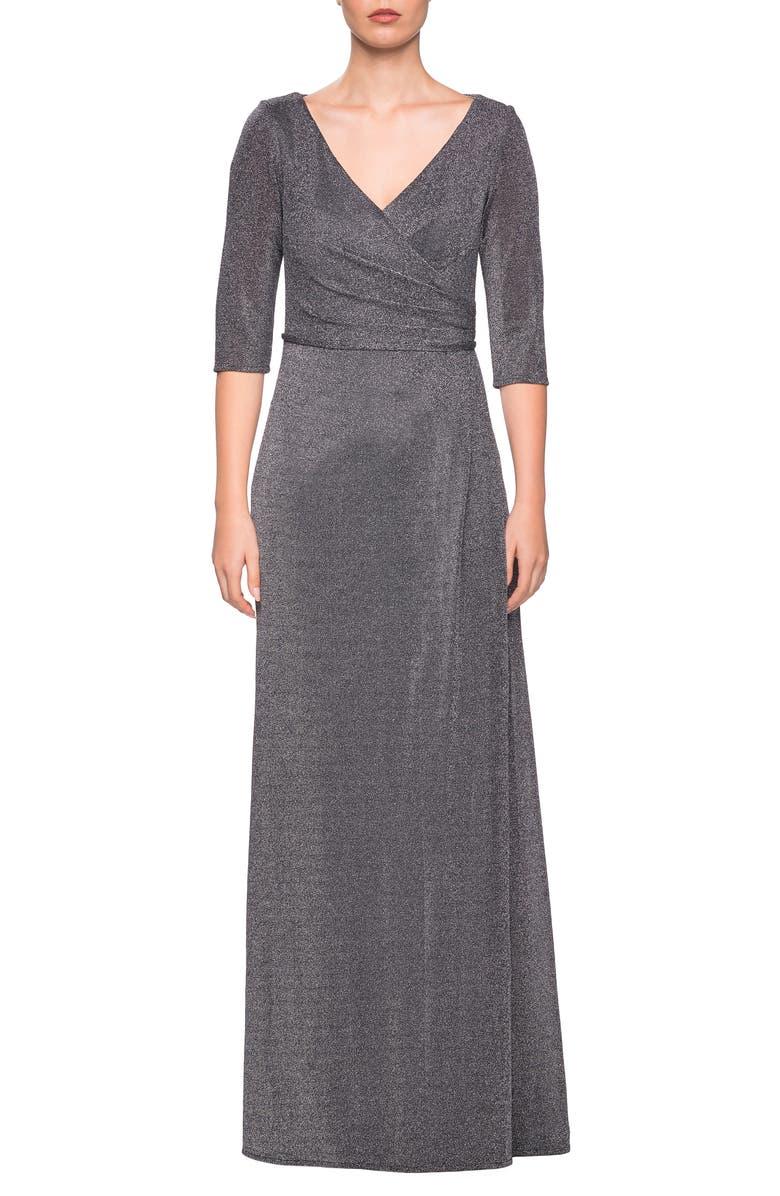 LA FEMME Sparkle Column Gown, Main, color, SILVER