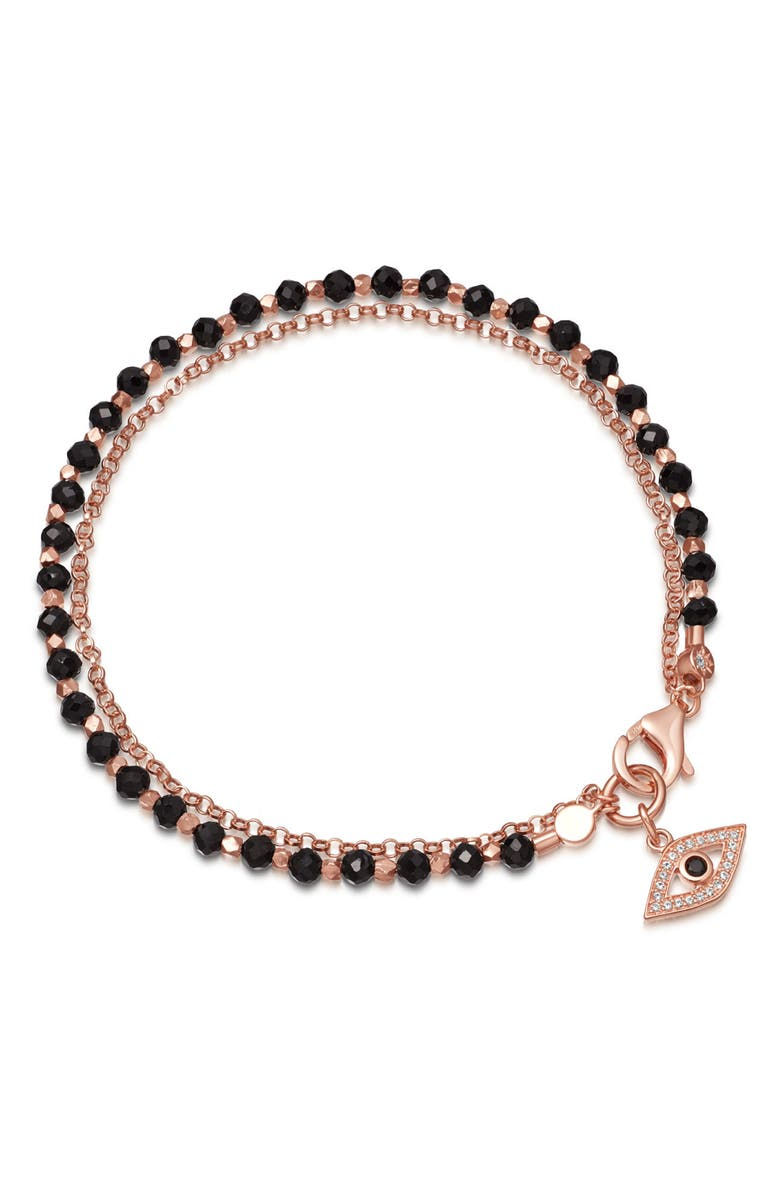 ASTLEY CLARKE Black Spinel Evil Eye Bracelet, Main, color, ROSE GOLD