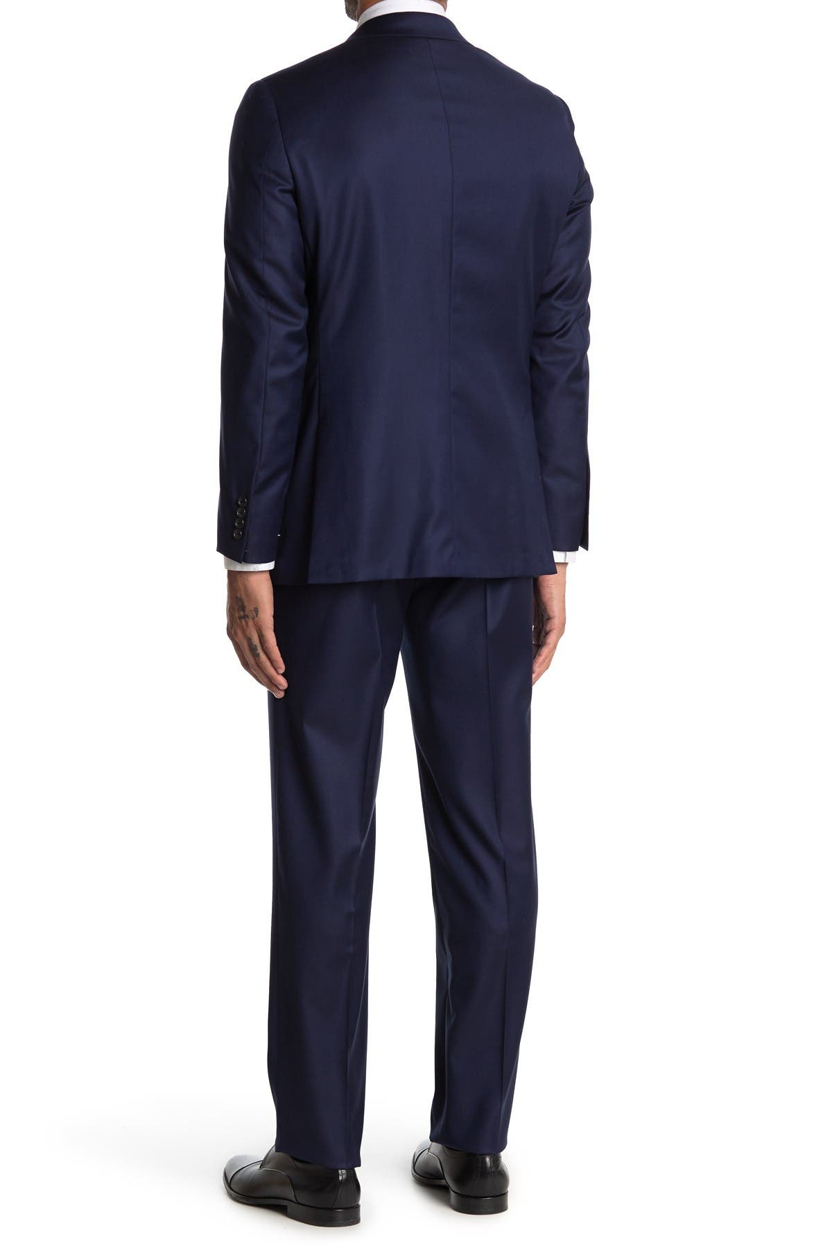 Image of Hickey Freeman Solid Navy Classic Fit Wool Suit