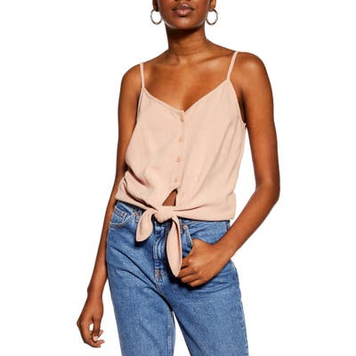Topshop Polly Tie Front Camisole, US (fits like 0) - Pink