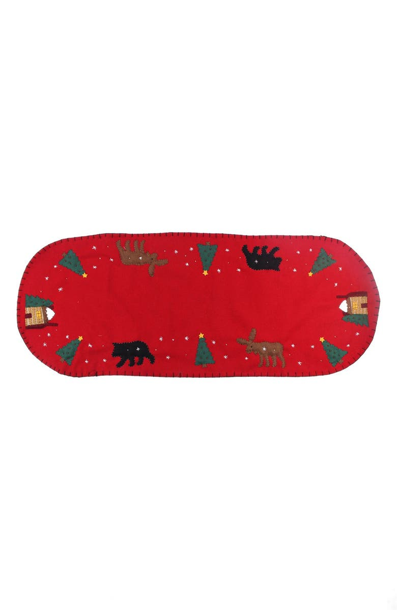 NEW WORLD ARTS Moose & Bear Table Runner, Main, color, RED MULTI