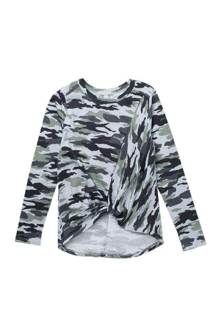 Image of Z by Zella Girl Twisted Front Long Sleeve Printed Shirt