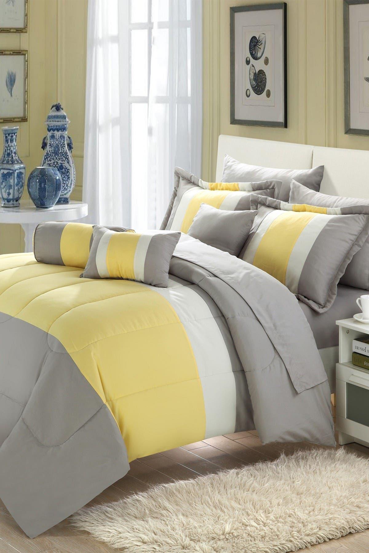 Image of Chic Home Bedding King Sebastian Comforter 10-Piece Set - Yellow