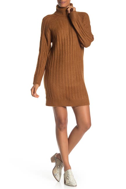 Image of Cloth By Design Ribbed Turtleneck Sweater Dress