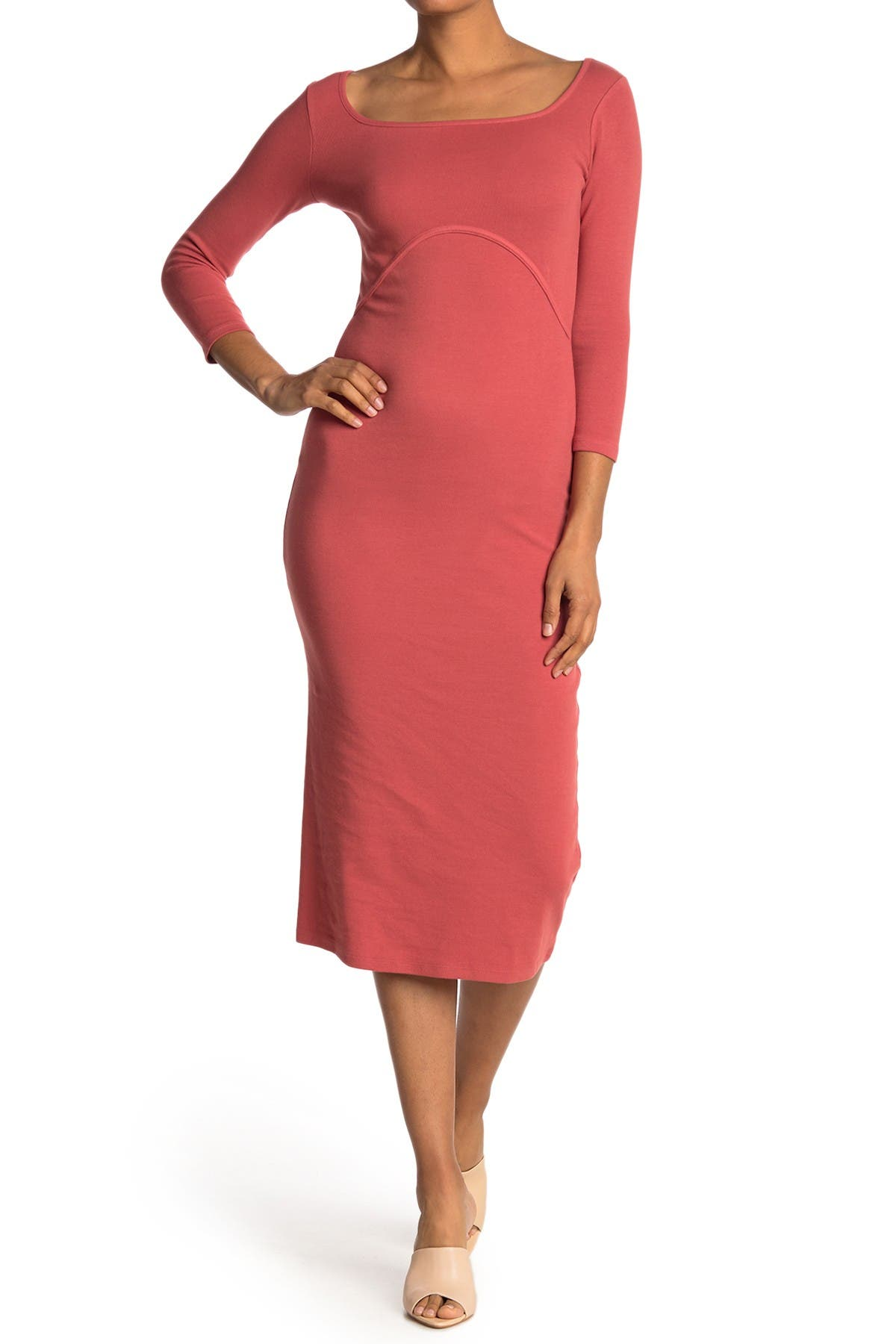 Image of Stateside Rib Square Neck Midi Dress