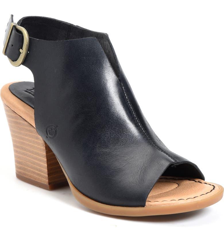 BØRN Moraine Sandal, Main, color, BLACK LEATHER