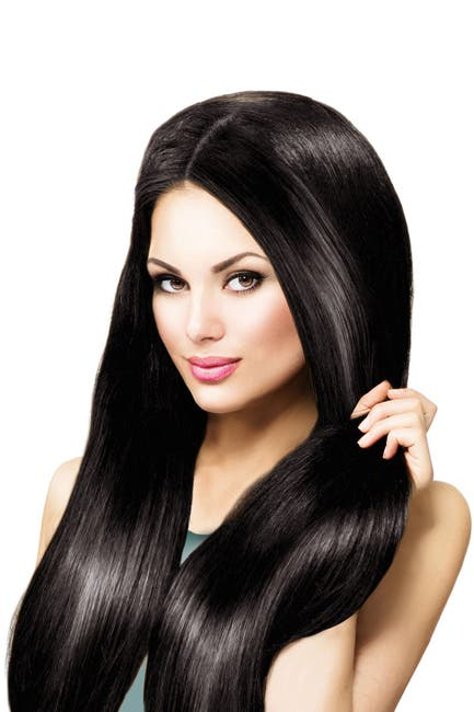 "Image of Celebrity Strands 18"" Clip-In Extensions 100% Remy Human Hair - #1b Off Black"