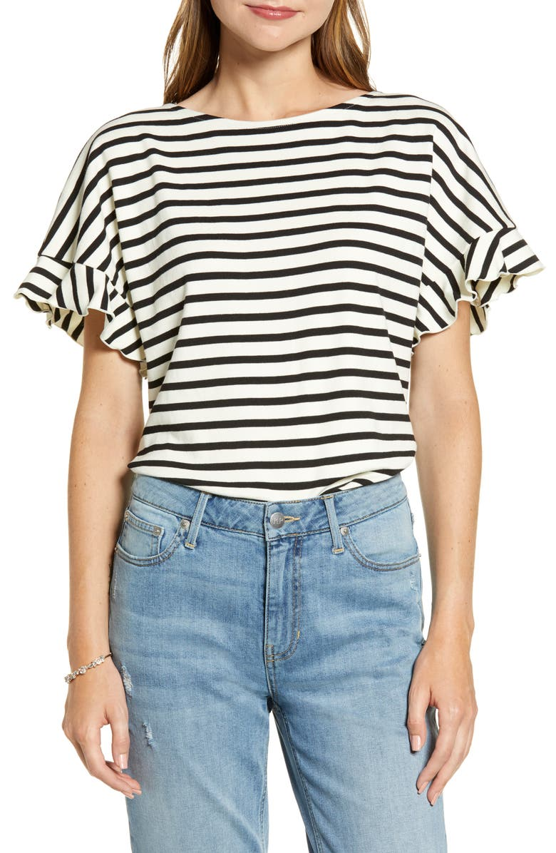 RACHEL PARCELL Back Bow Stripe Tee, Main, color, BLACK JERSEY STRIPE