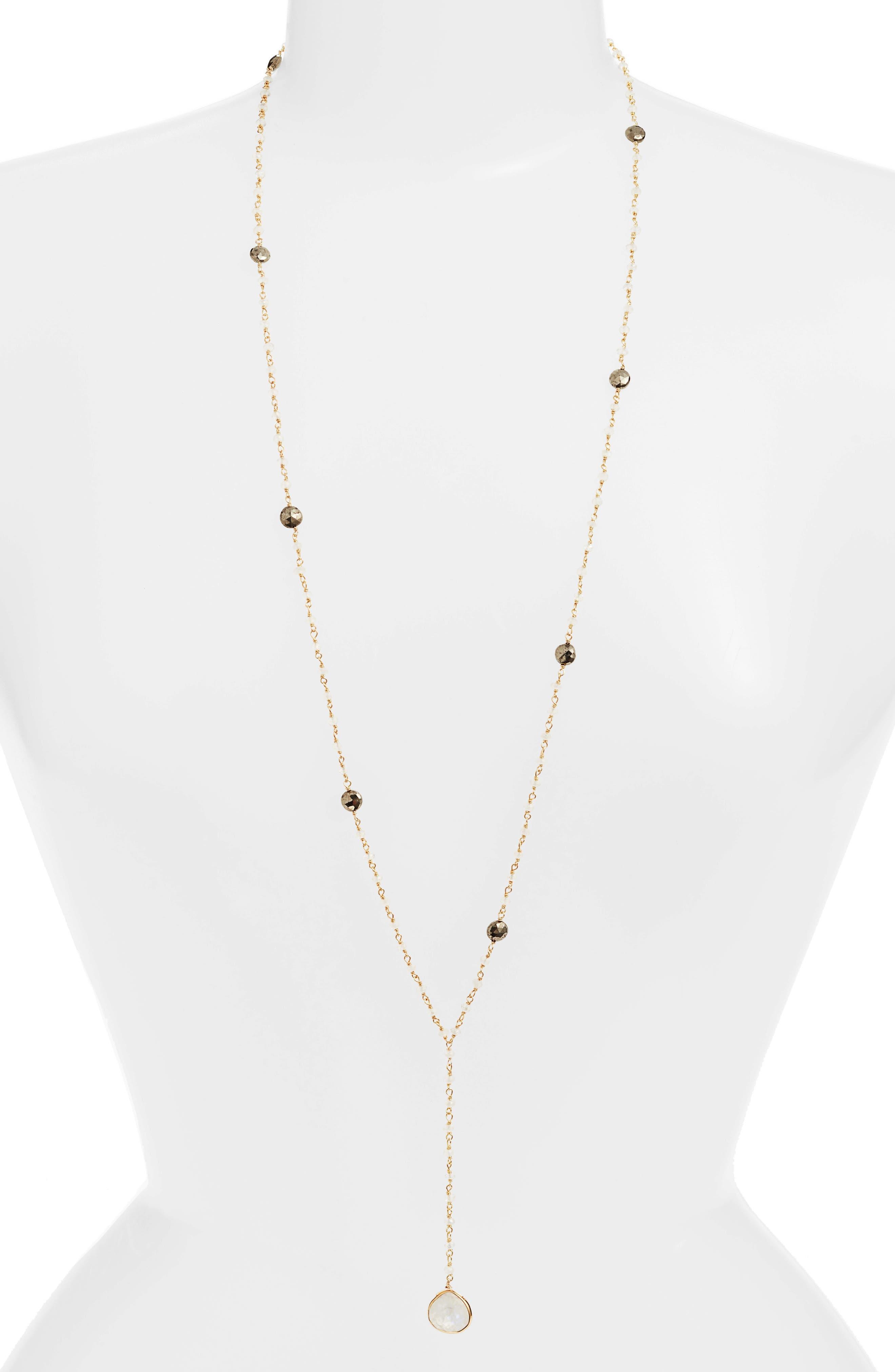 Yaeli Long Semiprecious Stone Y-Necklace