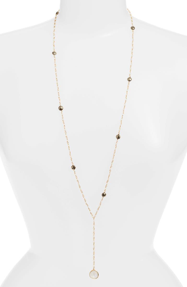 ELA RAE Yaeli Long Semiprecious Stone Y-Necklace, Main, color, 100
