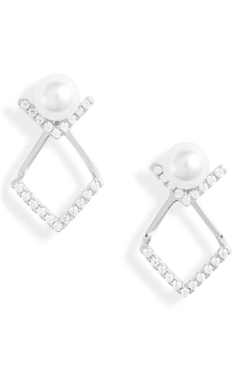 KNOTTY Stud Drop Earrings, Main, color, RHODIUM