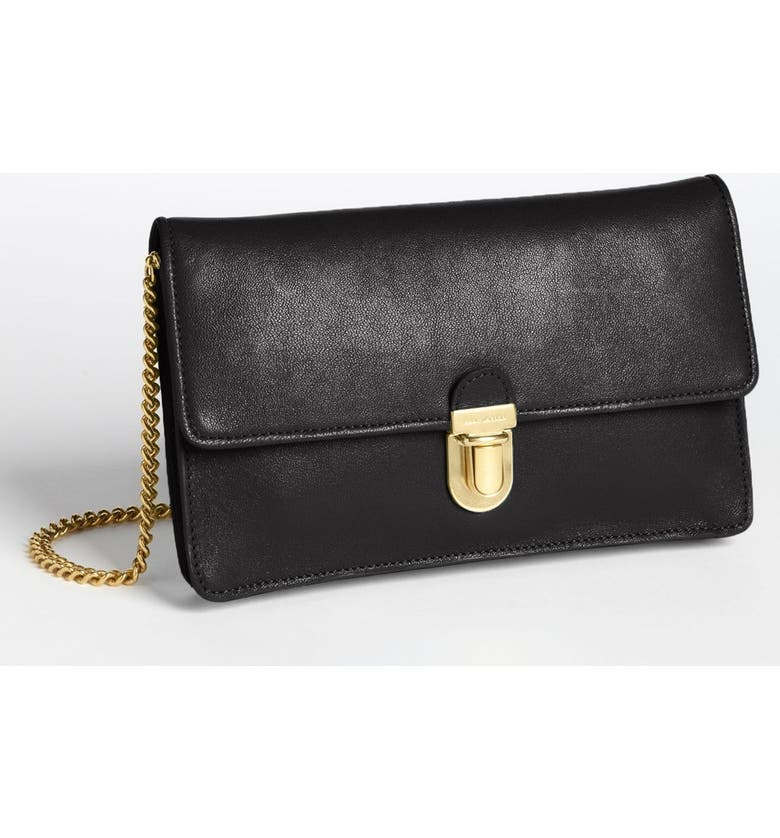 MARC JACOBS Leather Clutch, Main, color, 001