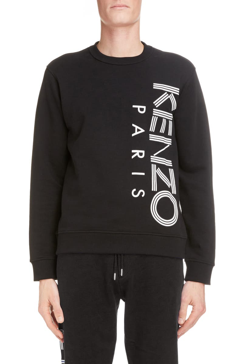 KENZO Logo Graphic Cotton Sweatshirt, Main, color, BLACK