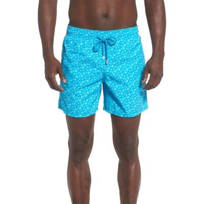 Vilebrequin Moorea Micro Turtle Print Swim Trunks, Blue