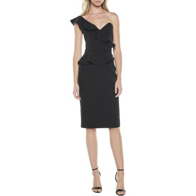 Bardot Camellia One-Shoulder Sheath Dress, Black