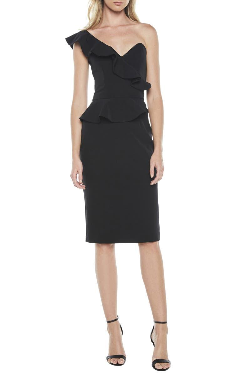 BARDOT Camellia One-Shoulder Sheath Dress, Main, color, BLACK